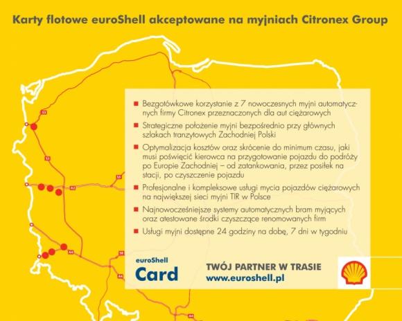 Karty flotowe euroShell akceptowane na myjniach Citronex Group